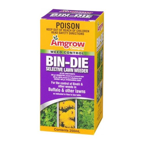 Amgrow Bin-Die has been formulated especially for use on buffalo lawns. It can also be used on couch, bent, kikuyu, paspalum, fescue and rye lawns. Broad spectrum selective weed killer that controls bindii, catsear, clover, creeping oxalis, cudweed, dandelion, plantain and thistles. Contains both contact and systemic herbicides. Bin-Die can be used throughout spring and autumn to control bindii and a wide range of other nuisance weeds.