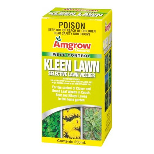 Amgrow Kleen Lawn Selective Lawn Weeder can be used to control broad leaf weeds including clover, pearlwort, chickweed, dandelion, dock, bindii and lambs toungue. Can be used on couch, bent and kikuyu lawns. NOT suitable for use on buffalo lawns. Contains contact and systemic herbicides.