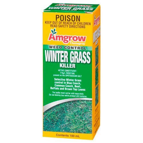 Amgrow Winter Grass Killer - for effective control of winter grass. Breaks down quickly - no residue in soil. Economical to use - 15mL treats 100 sqm of lawn. Suitable for use on couch bent buffalo ryegrass brown top bluegrass.