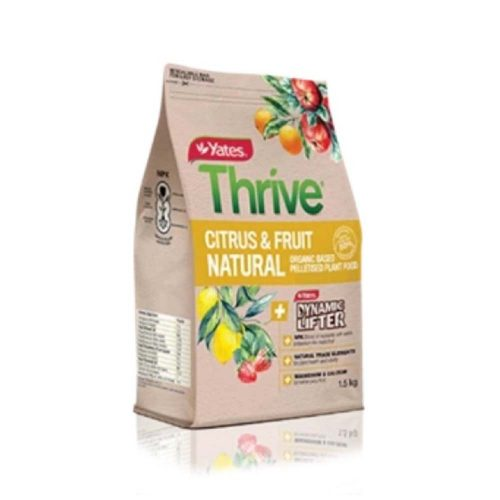 Yates Thrive Natural Citrus & Fruit Organic Based Pelletised Plant Food is a special combination of organic ingredients boosted with fast-acting fertilisers, designed to produce richer, juicier and more abundant fruit in any variety of plant. Special combination of organic ingredients boosted with fast-acting fertilisers, designed to produce richer, juicier and more abundant fruit in a variety of plants Pelletised for easy use Complete fertiliser. Ideal for all types of fruiting plants such as citrus (including lemons, limes, oranges), apples, pears, stone fruit and berries (including strawberries, blueberries)