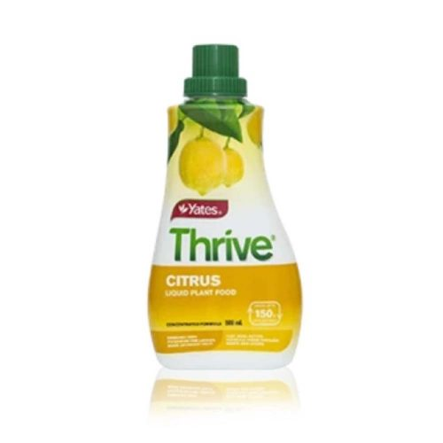 Yates Thrive Concentrate Citrus Food is a complete, liquid plant food that provides your citrus trees with the balanced nutrients they require for healthy growth, fruit production and development. Because Thrive feeds through the leaves and roots as you water, it starts to work quickly, so you see the results sooner. Yates Thrive Concentrate Citrus Food is suitable for all types of citrus trees. Use regularly, year round, for best results. Easy to measure and mix – no waiting for powders to dissolve Starts to work quickly as it feeds through the leaves and roots Can be used all year round Contains chelated trace elements that are easily available to house plants