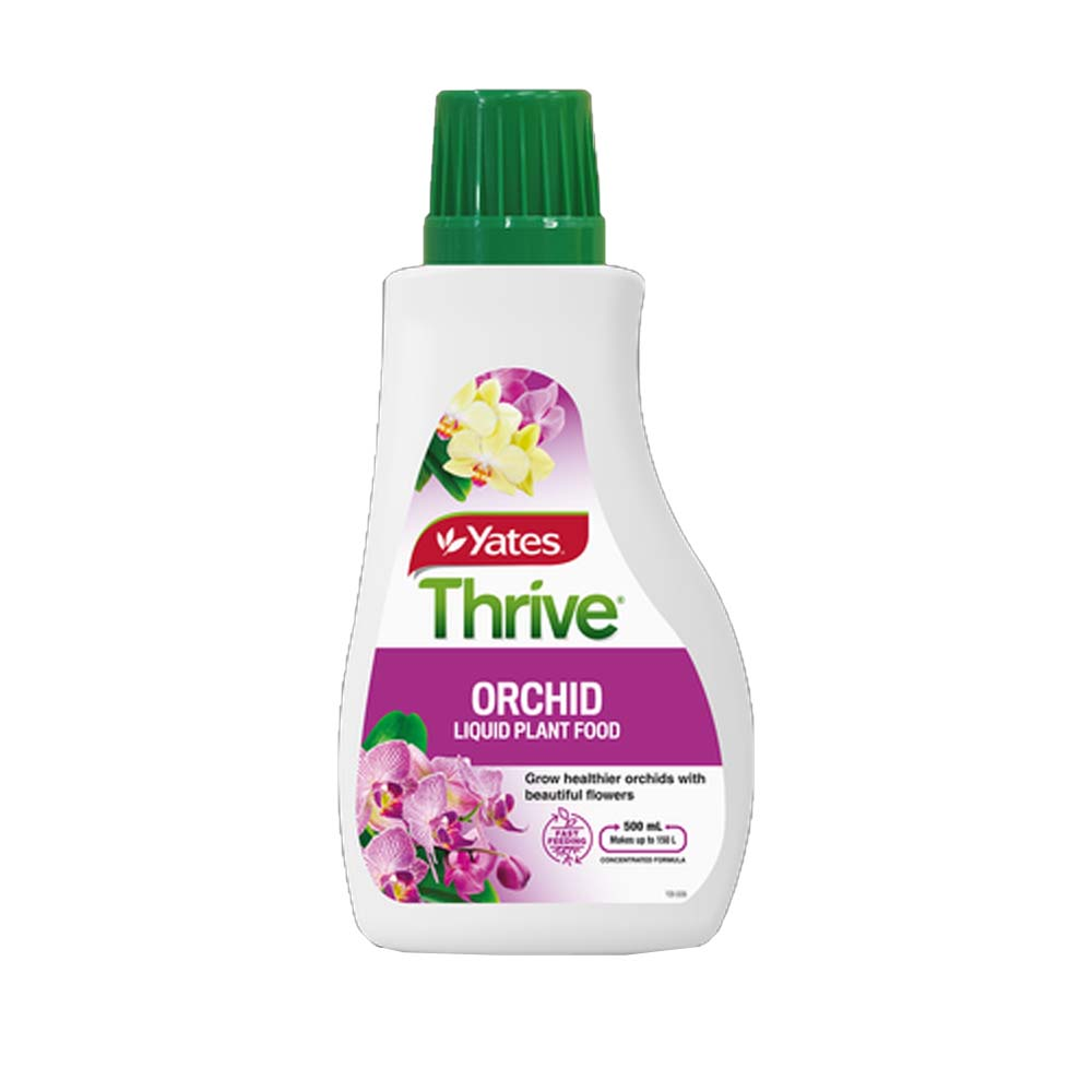 Yates Thrive Orchid Liquid Plant Food is a complete fertilizer that provides all types of orchids with the balanced nutrition they need, including potassium to encourage beautiful blooms, plus manganese, iron and copper which are ideal for your pot grown orchids. Easy-to-measure formulation features a no mess dosing cap. Replaces previous soluble product with a new, improved liquid formulation Dual action formulation feeds through both roots as well as leaves to deliver fast results Suitable for use on ALL orchids including delicate types such as Phalaenopsis Available in 500ml bottle that makes 150L of liquid fertilizer