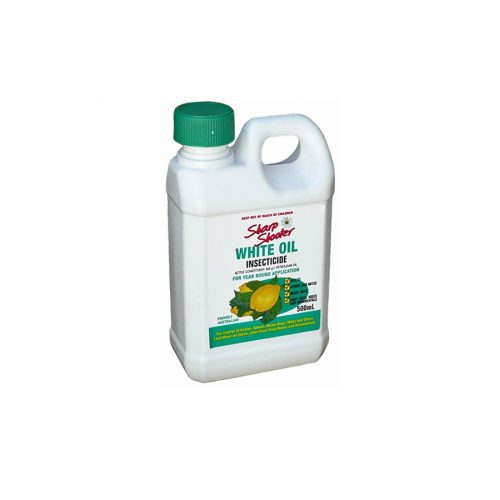 Sharpshooter White Oil is an insecticide spray used for controlling a wide range of insect pests in the garden. The spray works by blocking the breathing pores of insects causing suffocation and death. It is effective in the control of aphids, scale, mealy bug, mites, and smooth skinned caterpillars. The active ingredient in Sharpshooter White Oil is completely harmless to the environment, humans and pets. Sharp Shooter White Oil is an all seasons product that can be used safely all year round. Control Pests:Scale (red, white wax and other), Aphids, Mites, Mealy bugs, Citrus Leaf Miner and Spider Mites. For Use on:Deciduous fruit trees, Roses, Citrus Trees, Indoor Plants, Ornamentals and Daphne. When to use:Apply whenever pests are present all year round. For fruit trees and roses apply during winter after pruning but before bud burst.
