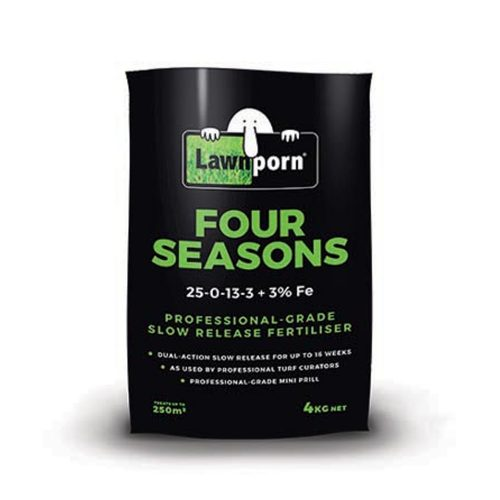 Lawnporn Four Seasons Fertiliser is a professional grade slow release granular fertiliser. It is the style of fertiliser used by professional golf courses and sportsfield professionals designed to provide rapid and prolonged plant growth and greening effect. Slow release nitrogen and potassium will continue to feed the lawn for up to 16 weeks. One of the most practical benefits of Lawnporn Four Seasons Fertiliser is the superior 150SGN granule size. The smaller granule size reduces the chance of fertiliser prills being damaged or picked up by mowing after application. In addition, the smaller granule will provide better coverage over the turf surface when applied offering superior performance. Dual action slow release for up to 16 weeks As used by professional turf curators Professional grade mini prill Controlled release potassium 150 SGN granule size prill Ideal for the home lawn enthusiast. N:P:K: 25.3- 0 – 13.3 Guaranteed Minimum Analysis Nitrogen (N) - 25.3% as Urea - 11.5% as Nitrate - 4.6% as Polymer Coated Urea - 5.6% as Methylene Urea - 3.6% Potassium (K) - 13.2% as Nitrate - 10.3% as Controlled Release - 2.9% Sulphur (S) as Sulphate - 3.6% Iron (Fe) as Sulphate - 3.0% Biuret (maximum) - 0.35%