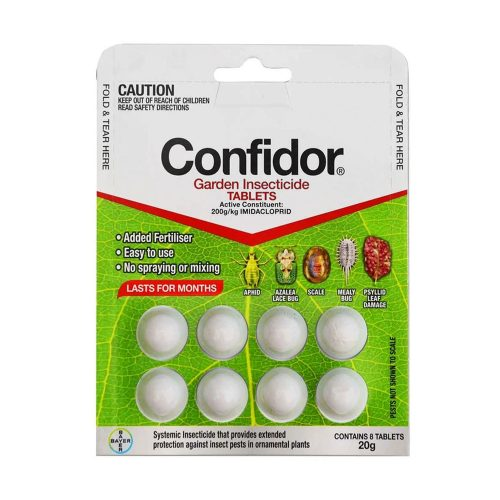 Bayer Confidor Tablets protects roses, azaleas, lillypillies, palms, magnolias and eucalypt trees against significant damage caused by aphids, azalea lace bug, psyllids, mealybugs and scale. Confidor is systemically taken up from the tablet via the plant roots to control insect pests. Protects roses, azaleas, lillypillies, palms, magnolias and eucalypt trees against significant damage caused by aphids, azalea lace bugs, psyllids, mealybugs and scale Systemically taken up from tablet via plant roots to control insect pests Nutrients in tablets assist uptake of Confidor by the roots and enhance plant growth 8 tablets in a pack