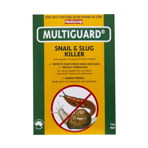 Multiguard Snail and Slug Killer is a safe snail and slug killer that's specially formulated for use by people who care about native birds, fauna and earthworms. Garden friendly and breaks down as nutrients for soils and plants. Developed to provide more effective slug and snail control with less danger to animals and wild life. Most effective, faster acting. Low riskto domestic pets, dogs, cats, native birds & lizards, when used as directed on packaging. Eco-friendlyas breaks down as nutrients for soil & plants. Harmless to earth worms and beneficial insects. 1kg treats 200 square metres Ideal on vegies, herbs and flowers. Active Constituent: 60g/kg Iron EDTA Complex How does it work? Multiguard Snail and Slug Killer is a bran-based, rust coloured pellet that's applied in exactly the same way as ordinary slug and snail pellets. Unlike ordinary pellets though, it contains a revolutionary new active ingredient called Iron EDTA Complex. This is a substance we come across in everyday life: as a food additive to prevent rancidity, in medicine to treat anaemia, and as a trace element in fertiliser. Despite its benefits to humans however, Iron EDTA Complex is a deadly stomach poison to slugs and snails. Slugs and snails find Multiguard Snail and Slug Killer highly attractive and consume the pellets in preference to nearby plants. Once they've eaten, they lose their appetites and head off home to die – quickly and without trace. Shells are seldom found after treatment with Multiguard®. How safe is it to animals? CAUTION: DO NOT place pellets in piles or heaps. DO NOT allow animals access to the packet as dogs may find Multiguard attractive and if consumed in large quantities it may be toxic. Multiguard is one of the least toxic of all slug and snail killers used world-wide. The active ingredient Iron EDTA Complex is rated less toxic than common salt. In 1997 the Australian Veterinary Association evaluated the safety of Multiguard® to dogs, who are the usual victims, and co