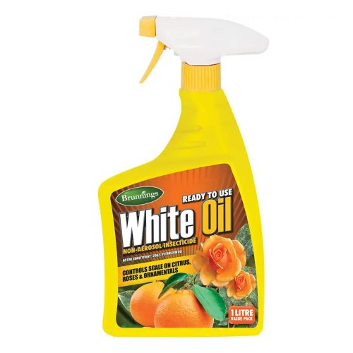 Brunnings White Oil Spray is a non-aerosol insecticide that effectively controls scale on citrus, roses and ornamentals. It's ready to use and can be applied at any time of year - all you have to do is spray and go to see fantastic results on your plants. Plus, not only does it kill scale, it is also ideal for creating a healthy leaf gloss on indoor plants. One-litre White Oil Spray bottle Kills scale on citrus, shrubs, roses and ornamentals Ideal for leaf gloss on indoor plants Can be applied all year round Controls a wide variety of insects includingAPHIDS, MEALY BUGS, RED, WHITE WAX & CERTAIN OTHER SCALES (NOT SAN JOSE SCALE), SOOT MOULD,SPIDER MITES, WHITE FLY (NOT QLD), WHITE LOUSE (QLD ONLY)