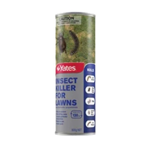 Yates Insect Killer for Lawns is a fast acting, highly effective insecticide for use on home garden lawns. The granular formulation kills insect pests on contact. Controls surface lawn pests such as armyworm, African black beetle, Billbug Safe to use on all lawns Ready to use shaker pack 800g covers 130m2 of lawn