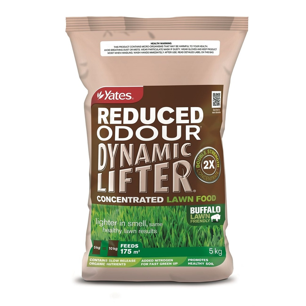Lighter in smell than original Yates Dynamic Lifter and once applied and watered in, the smell reduces quicker. Great for pots, on patios and balconies or areas where you may be concerned using the original Dynamic Lifter products. Yates Dynamic Lifter Reduced Odour Soil Improver & Plant Fertiliser is still packed with all the organic goodness of our unique blend of natural ingredients. It breathes life into your soil by adding organic matter and encourages microbial and earthworm activity, and the nutrients are released slowly so they don't burn the roots of your plants. Lighter in smell compared to original Dynamic Lifter and smell reduces quicker once watered in Can be applied in close suburban backyards, on balconies and in pots or planters Is pelletised making it easy to apply and enabling slow release of nutrients Feeds your plants and increases your soils organic matter Improves moisture and nutrient retention of soils Is free of weeds Suitable to use on all lawn types including buffalo, couch & kikuyu.