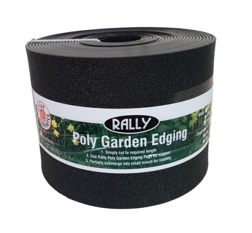 Poly Landscaping Garden Edging Black 150mm x 30M Poly Landscape Edging Create a neat finish to your garden beds with these hardy Rally Garden Edging. Simply cut to required length Use pegs for support. Partially submerge into small trench for stability. Ideal for creating barriers in your garden, tree guards and forming concrete work 2 year UV stabilised Guarantee.