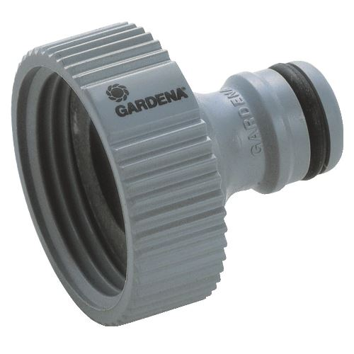 """The GARDENA 13mm (18202-20) Universal Tap Nut Adaptor allows you to connect a 13mm hose connector to your tap. Quick & easy tool free connection. It suits 1"""" taps and 13 mm hose connectors. Its easy grip profile provides a quick and easy tool-free connection. Comes with a 5-Year Warranty. Thanks to the system products of the Original GARDENA System any watering accessory can be easily and quickly connected to the hose. Everything interconnects from start to finish and stays watertight. Light tap connector for connecting to the water tap."""