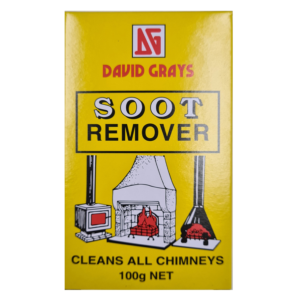 David Grays Soot Remover is an easy to use cleaner- just place the entire box into a burning fire. It is extremely important to clean out your chimney regularly. Cleaning your chimney will remove hazards like soot, blockages & creosote that can lead to house fires. Suitable for chimneys, pot belly stoves & pizza ovens Non toxic, easy to use just place box in fire
